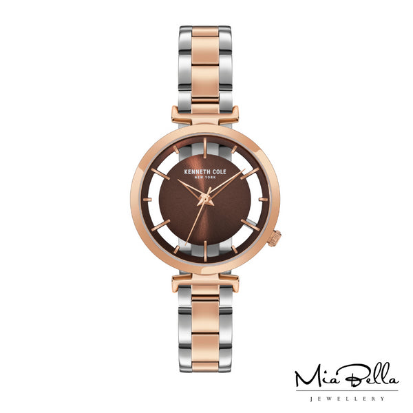 Kenneth Cole Rose Gold Transparent Two Tone Ladies Dress Watch