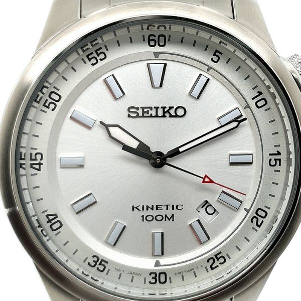 Seiko Stainless Steel Kinetic Mens Sports Watch