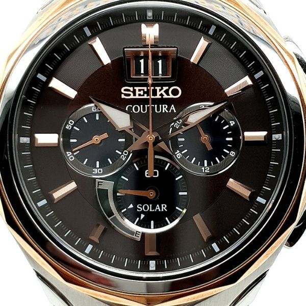 Seiko Coutura Two Tone Mens Solar Chronograph Watch