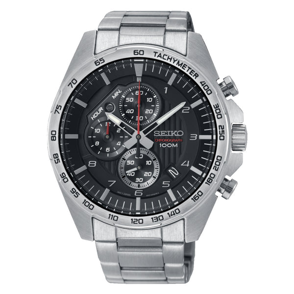 Seiko Black Dial Mens Chronograph Watch