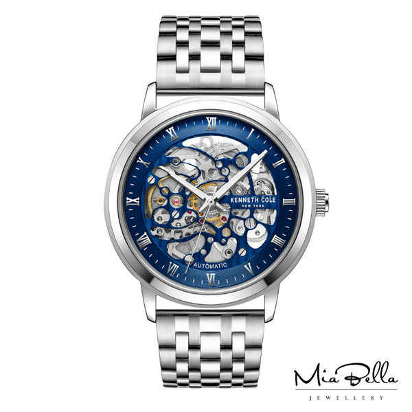 Kenneth Cole Skeleton Blue Mens Automatic Watch