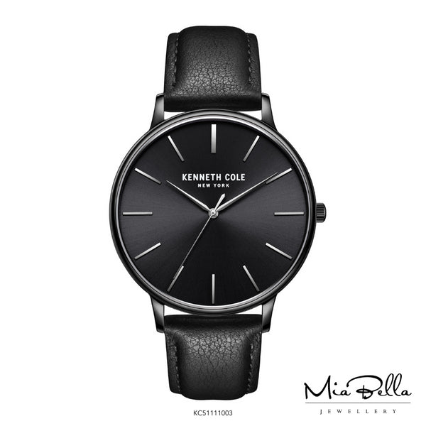 Kenneth Cole Black Dial Leather Mens Watch