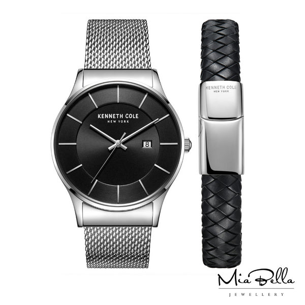 Kenneth Cole Gift Set Watch & Leather Bracelet