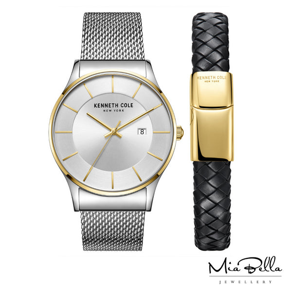Kenneth Cole Two Tone Watch & Bracelet Gift Set