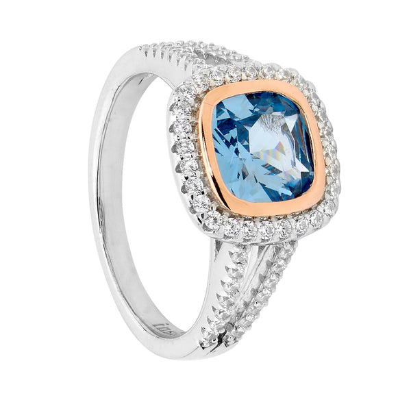 Cushion Cut Blue Spinel Halo Ring Sterling Silver & Rose Gold Plating