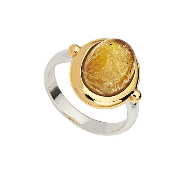 Cabochon Citrine Justinia Ring Sterling Silver & Yellow Gold Plating