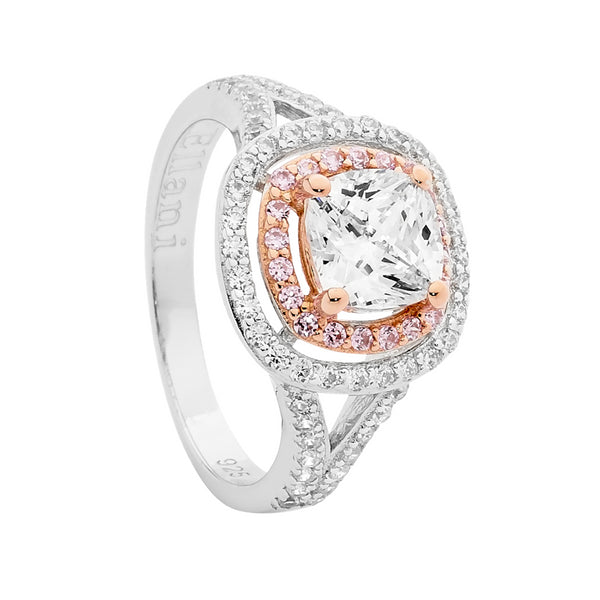 Cushion Cut Cubic Zirconia Double Halo Dress Ring Sterling Silver & Rose Gold Plating