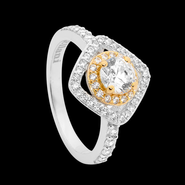 Cubic Zirconia Double Halo Ring Sterling Silver & Yellow Gold Plating