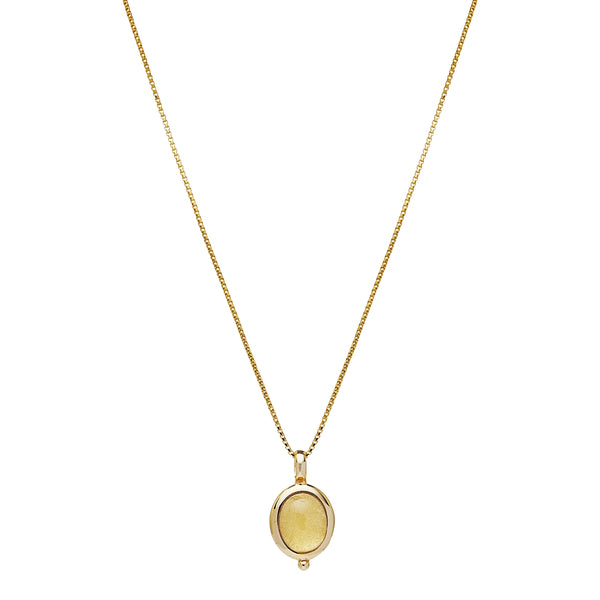 Cabachon Citrine Pendant & Chain Sterling Silver Yellow Gold Plated
