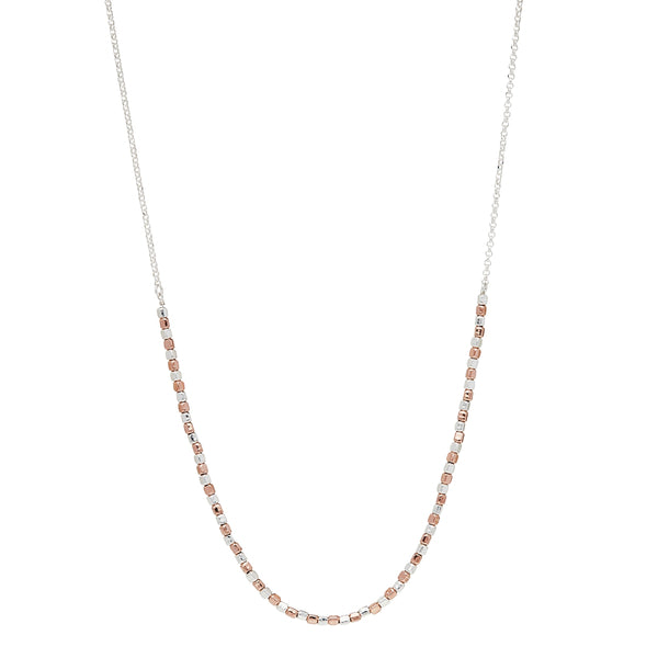 Pebble Necklace Sterling Silver and Rose Gold Plating