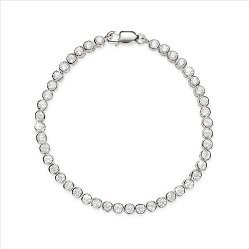 Cubic Zirconia Round Tennis Bracelet Sterling Silver