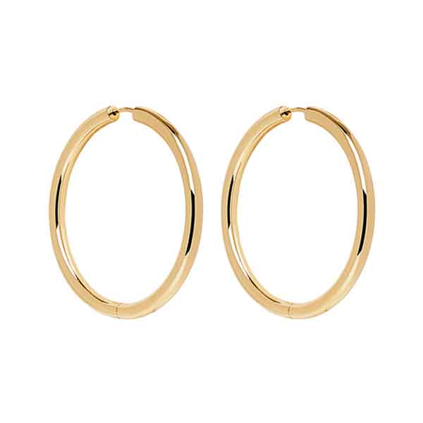 Hinged Tube Hoop Earrings Sterling Silver Yellow Gold Plated