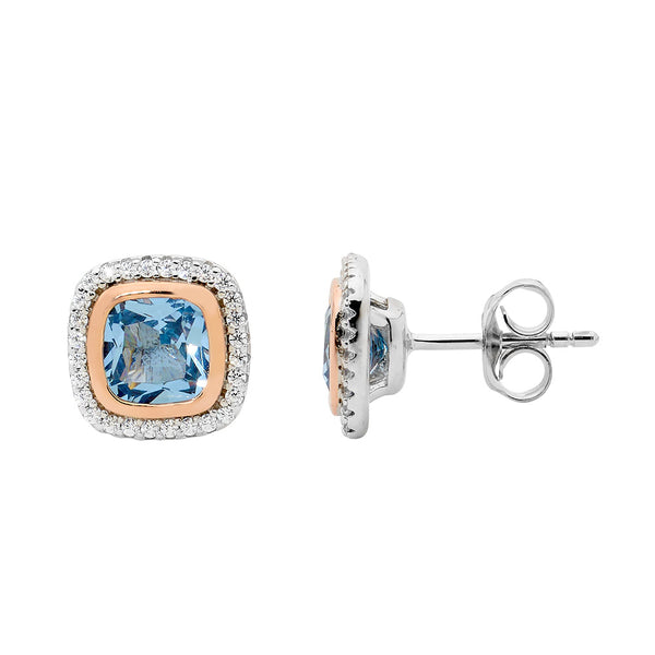 Cushion Cut Blue Spinel & Cubic Zirconia Halo Stud Earrings Sterling Silver & Rose Gold Plating
