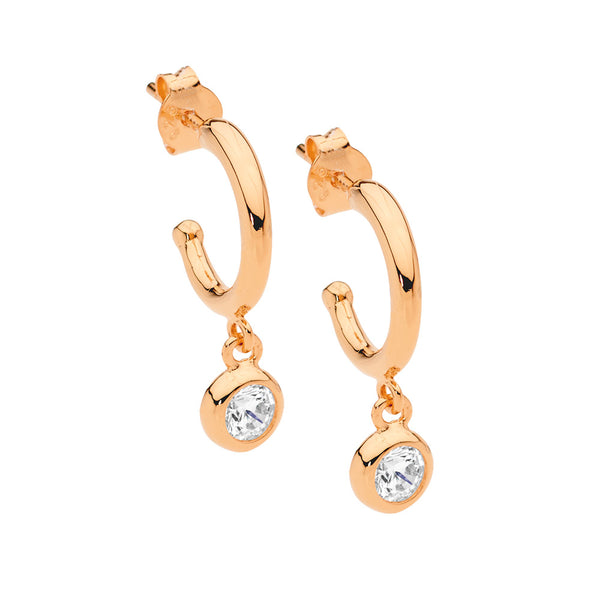 Cubic Zirconia Hoop Stud with Drop Earrings Sterling Silver Rose Gold Plated