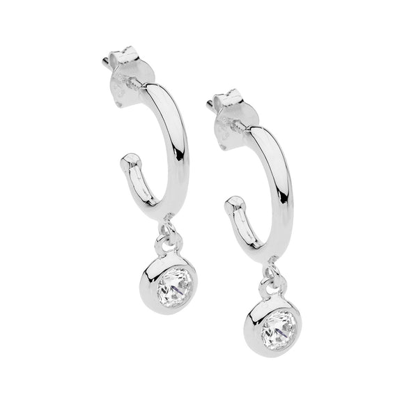 Cubic Zirconia Hoop Stud with Drop Earrings Sterling Silver