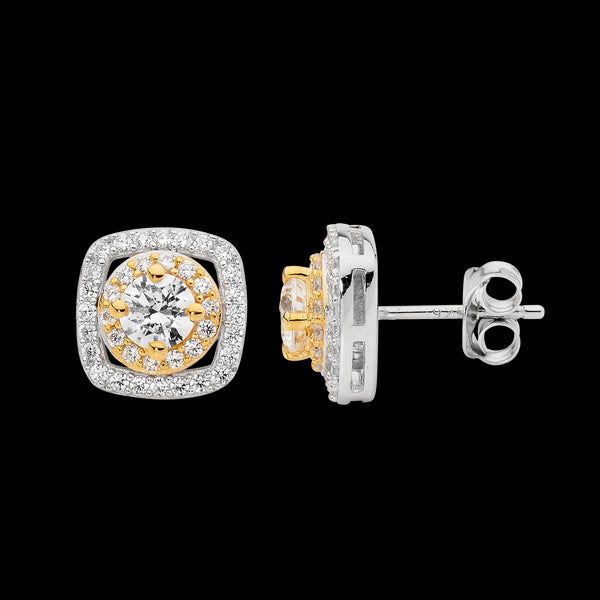 Cubic Zirconia Double Halo Stud Earrings Sterling Silver & Yellow Gold Plating