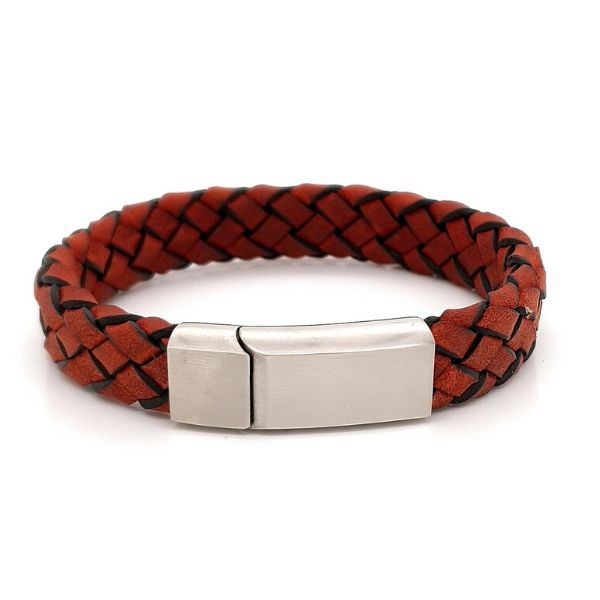 Red Italian Leather Bracelet Stainless Steel