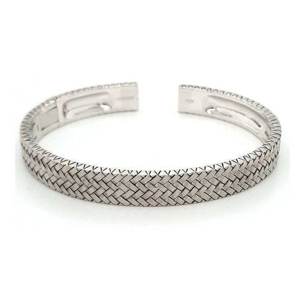 Woven Patterned Hinged Cuff Sterling Silver