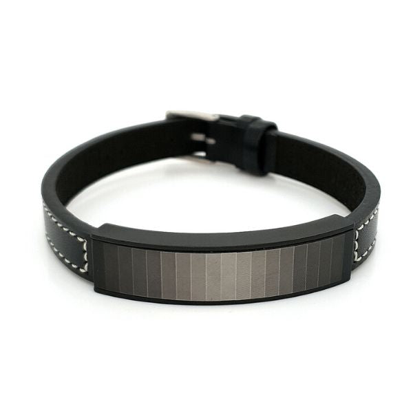 Colour Gradient/Leather Bracelet Stainless Steel