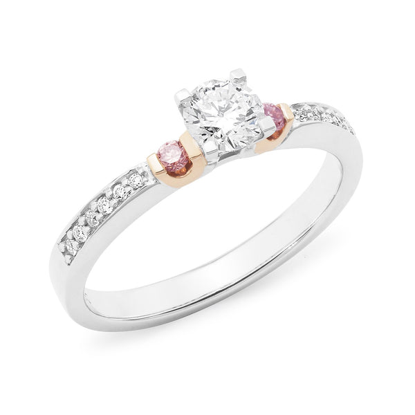 PINK CAVIAR 0.565ct White Round Brilliant Cut & Pink Diamond Engagement Ring in 18ct White Gold