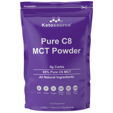 Case of 10 x Ketosource Pure C8 MCT Powder (500g Unflavoured)