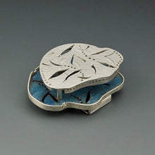 Load image into Gallery viewer, Pierced silver and copper brooch