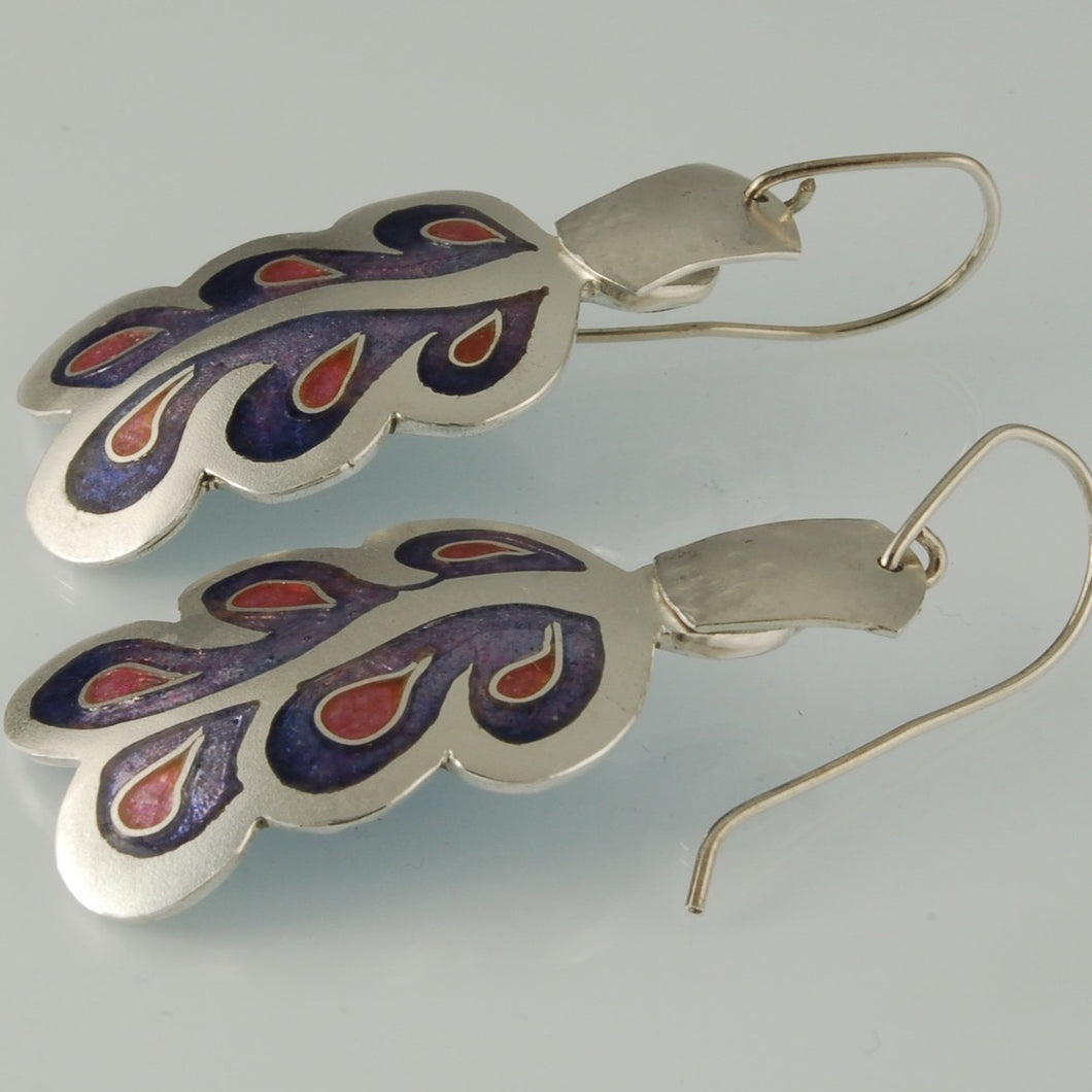 Purple Cloisonné earrings with pink accents