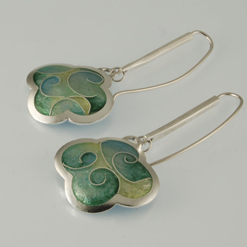 Green cloisonné enamel and silver earrings