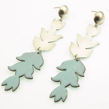Load image into Gallery viewer, Soft aqua enameled flower earrings in copper and silver