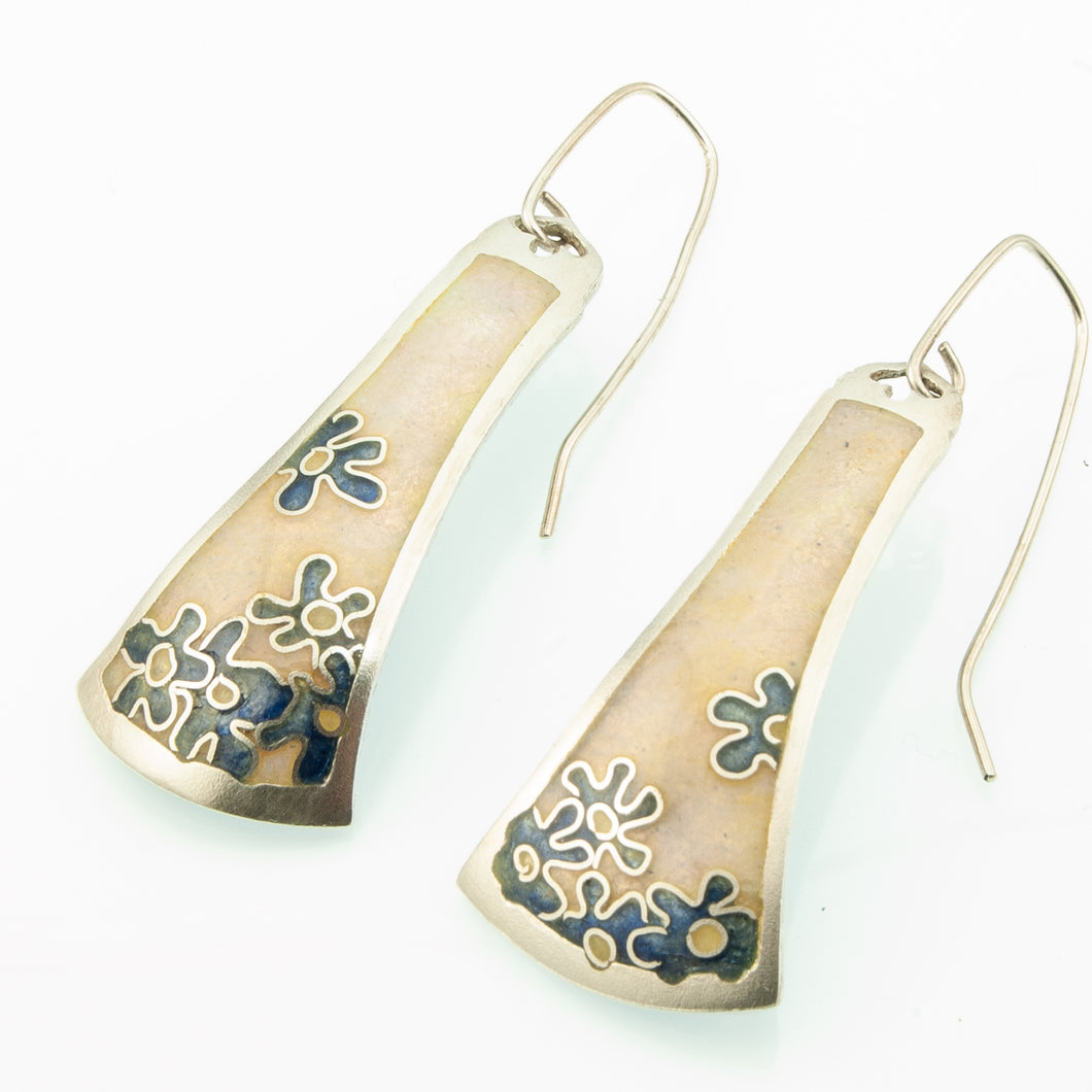 Forget-me-not cloisonné enamel earrings