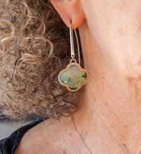 Load image into Gallery viewer, Green dangle cloissone earring on model