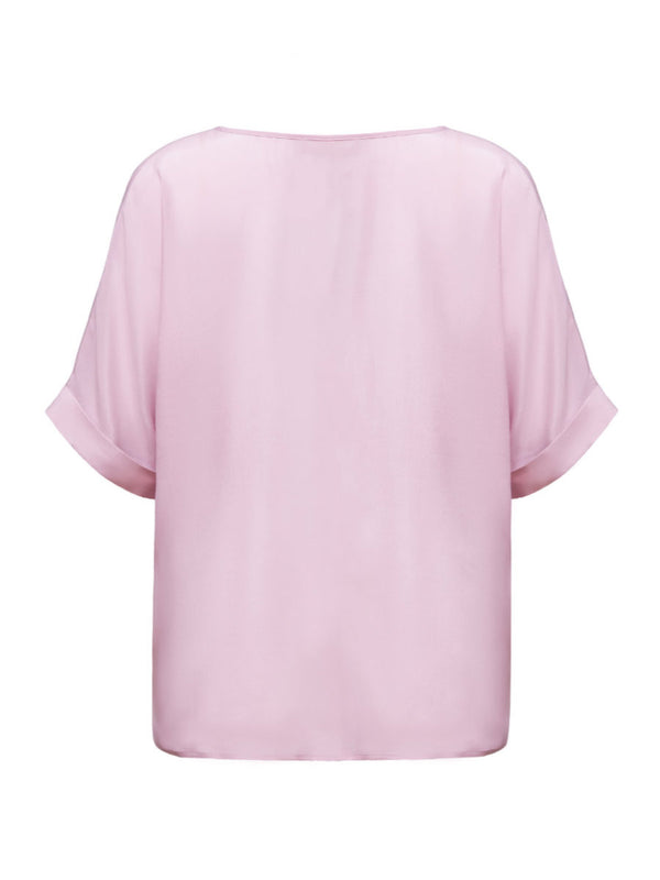 Helene Galwas, Loosely cut short-sleeved blouse, silk elastane, Blusen