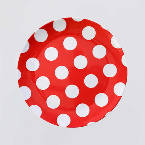 Red Polka Dots Round Plate