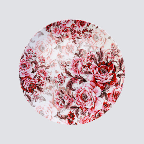 Red Flowers Round Plate