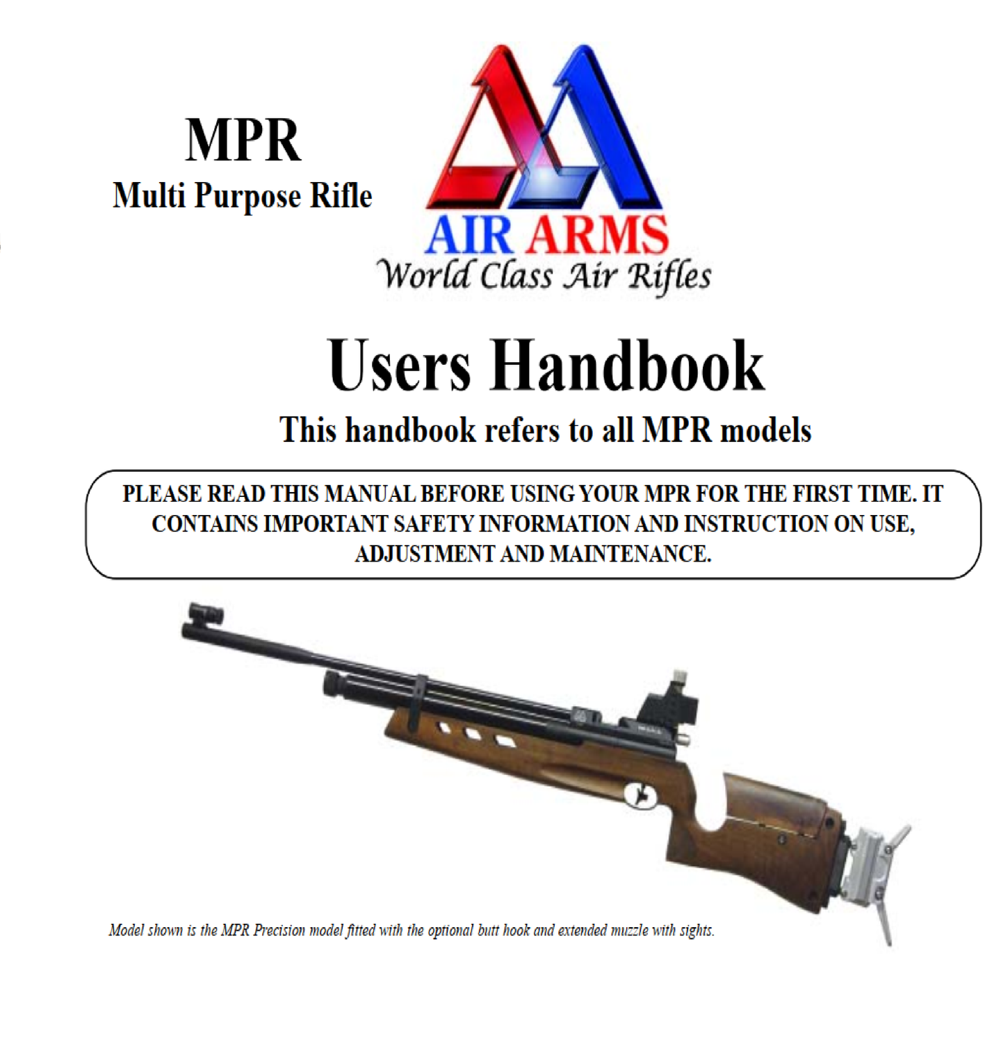 Air Arms MPR Multi Purpose Model Airgun Air Rifle Gun Pistol Owners Manual Instant Download #AirArms
