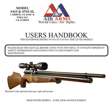 Air Arms S410 S510 Side Lever Models Airgun Air  Rifle Gun Pistol Owners Manual Instant Download #AirArms