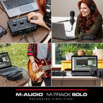 M-Audio M-Track Solo – USB Audio Interface for Recording, Streaming and Podcasting with XLR, Line and DI Inputs, Plus a Software Suite Included