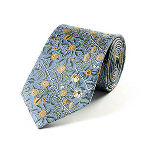 William Morris Blue Fruit Silk Tie