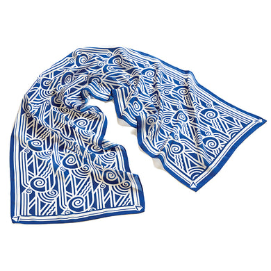 Deco Volute Blue Silk Scarf