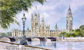 Parliament & Big Ben London Watercolour
