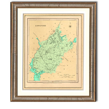 Longford Irish County Map Framed