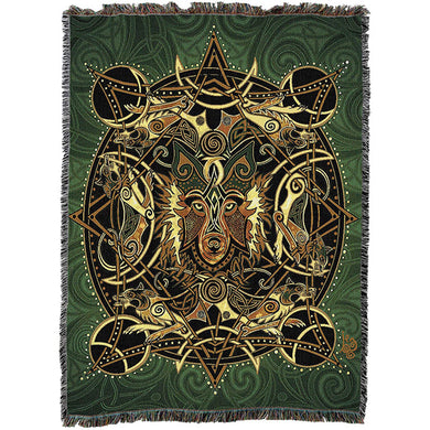 Celtic Wolf Throw Blanket
