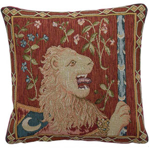 Lion: Cluny Lady & Unicorn Tapestry Pillow