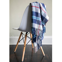 Load image into Gallery viewer, Douglas Navy Tartan Lambswool Blanket