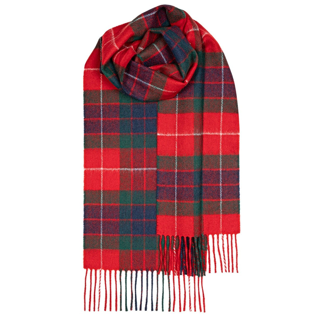 Fraser Red Modern Tartan Brushed Lambswool Scarf
