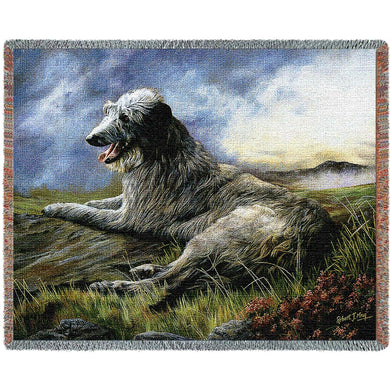 Scottish Deerhound Cotton Throw Blanket