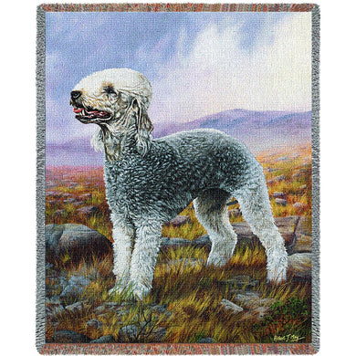 Bedlington Terrier Cotton Throw Blanket