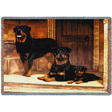 Rottweiler Cotton Throw Blanket