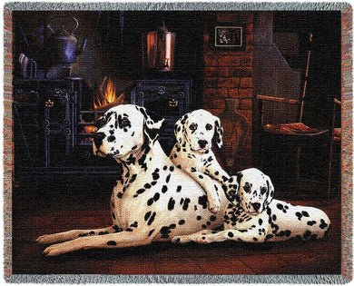 Dalmatian with Puppies Cotton Throw Blanket