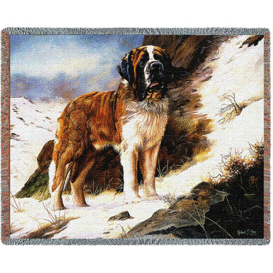 Saint Bernard Cotton Throw Blanket